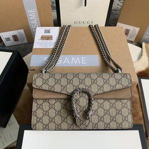 NWT GUCCI Beige Ebony GG Dionysus small canvas bag